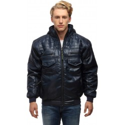 Wild Nature Blue Men's Hooded Down Quilted & Bomber Winter Jacket