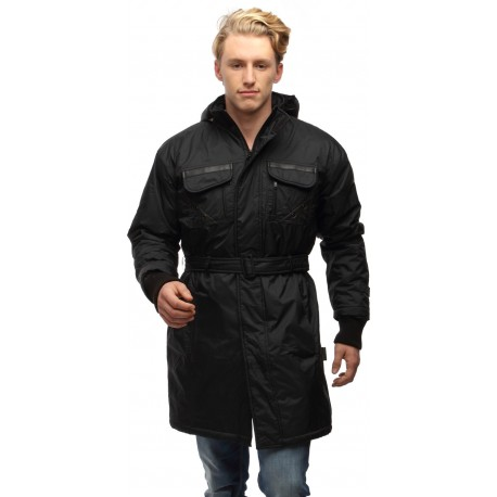 Wild Nature Mens Waterproof Trench Coat With Fur And Detachable Hood (Black)