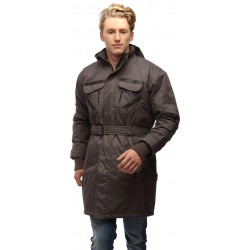 Wild Nature Mens Waterproof Trench Coat With Fur And Detachable Hood (Grey)