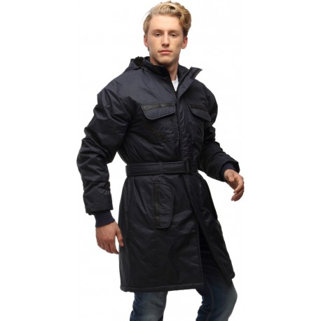Wild Nature Mens Waterproof Trench Coat With Fur And Detachable Hood (Blue)