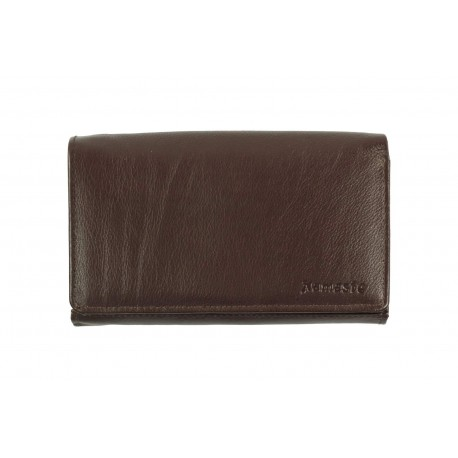 6 Cards Bi-Fold Women's Formal Leather Wallet with Metal Frame(NME IQ-410)