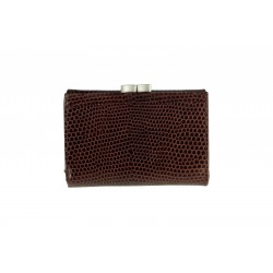 8 Cards Tri-Fold Women's Maroon Snake Print Leather Wallet with Metal Frame(NME SR-15)