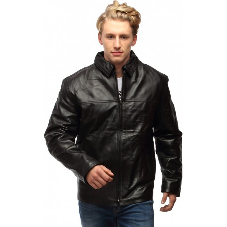 Center Zip Formal Leather Jacket