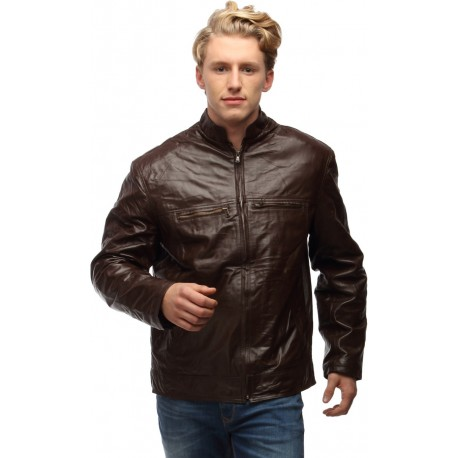 Center Zip Chinese Collar Leather jacket